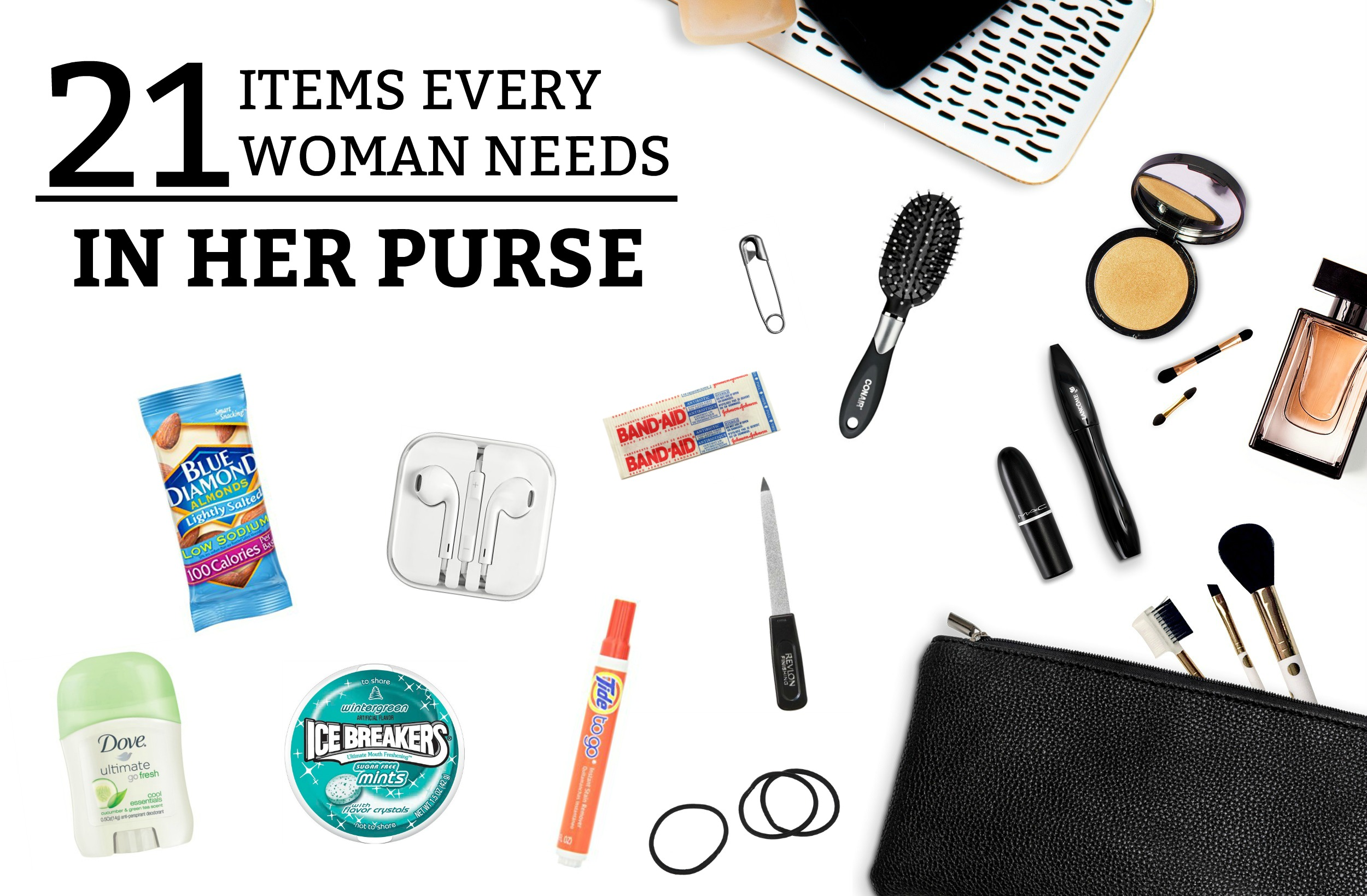 21 Items Every Woman Needs in Her Purse - a practical guide to the must-have items every woman needs to carry in her purse! Don't get caught without one of them! www.tradingaverage.com